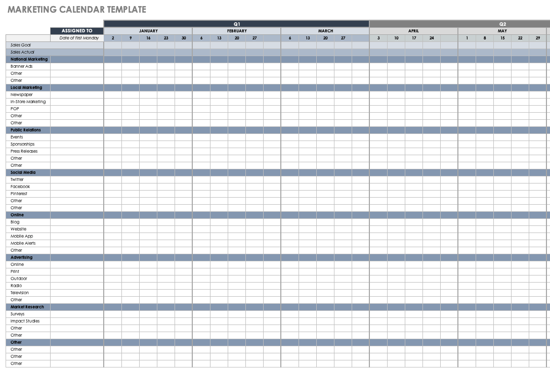 The spruce / lisa fasol you can use these free calendar templates to create just about any t. 15 Free Marketing Calendar Templates Smartsheet