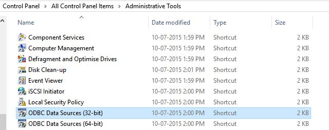 Create ODBC in Windows