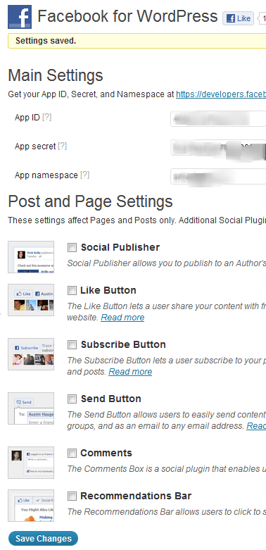Facebook Plugin Settings for wordpress