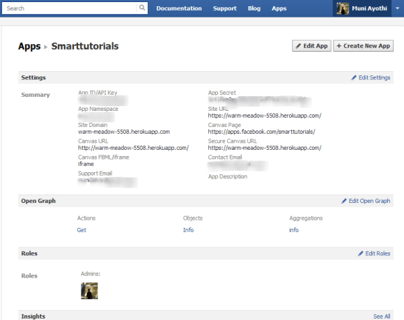 facebook app dashboard