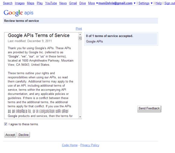 get google API-Google Service Agreement Page