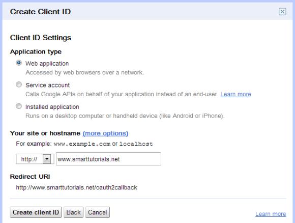 Create Google oAuth 2 client ID 2
