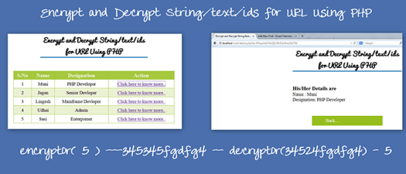 Encrypt and Decrypt String/text/ids for URL Using PHP