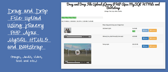 Drag and Drop File Upload jQuery PHP Ajax HTML5 MySQL and Bootstrap