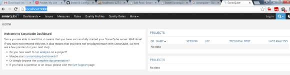 Sonnarqube Dashboard Page
