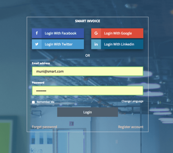 Smart Invoice 3 Social Login - Facebook, Google, Linkedin & Twitter