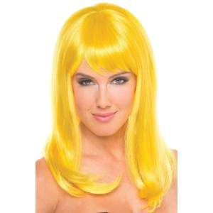 BW094YW Hollywood Wig Yellow - Yellow / Female / O/S - Wigs