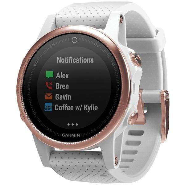 fenix(R) 5S 42mm Multisport GPS Watch Sapphire Edition (White with Rose Goldtone; Without Silicone Quickfit(TM) 20 Band) - Smart Watches
