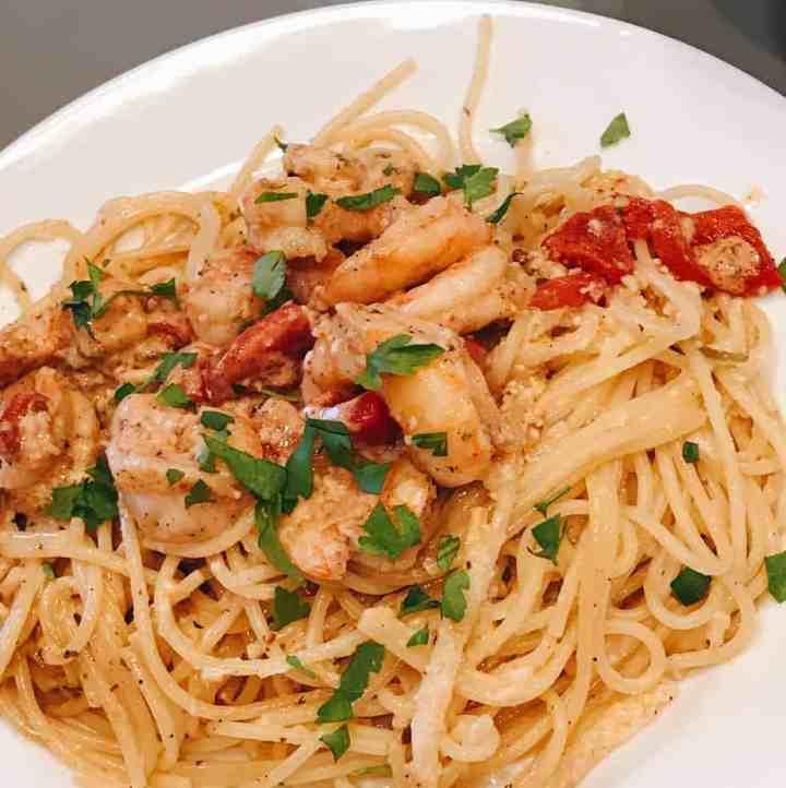 Shrimp Pesto Spaghetti
