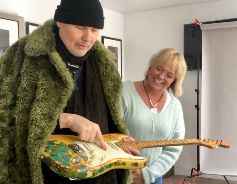 Billy Corgan and Beth James with Gish guitar