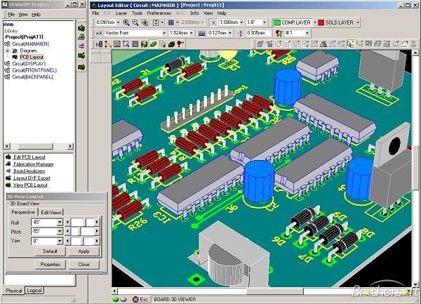 EDWinXP PCB rendering