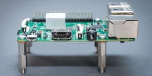 Raspberry Pi 3 side with heatsink and spacers