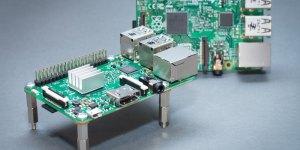 Raspberry Pi 3 with heatsink and spacers and Pi 2