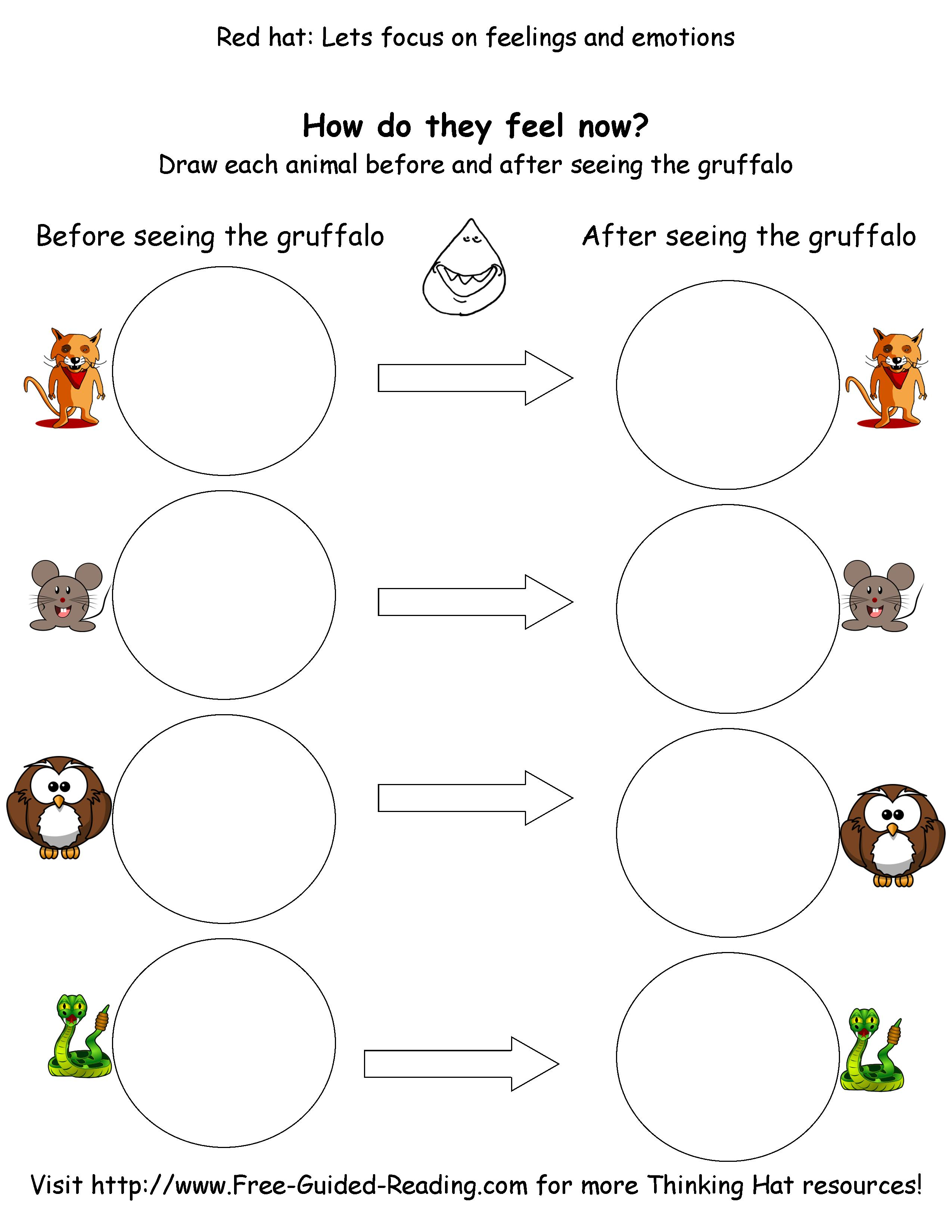 Smashwords 16 Thinking Hat Worksheets For The Gruffalo