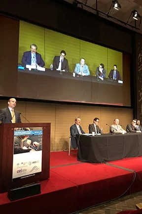 A panel discussion of experts in progress at the WPATH First Live Surgery Symposium, Icahn School of Medicine at Mount Sinai, New York City, USA