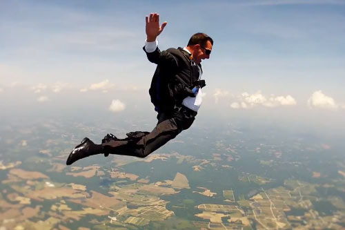 Skydiving businessman