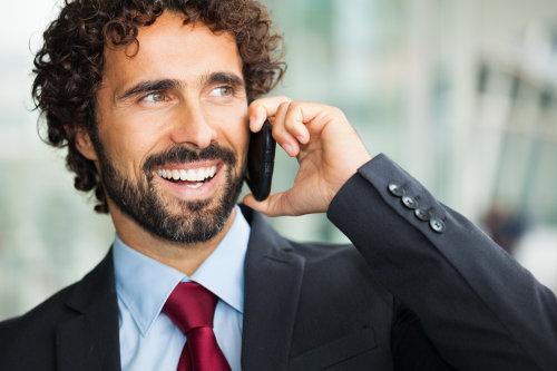 Determined entrepreneur on the phone