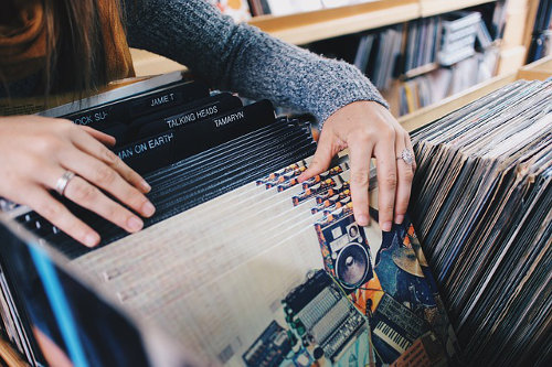 Vinyl records shopping