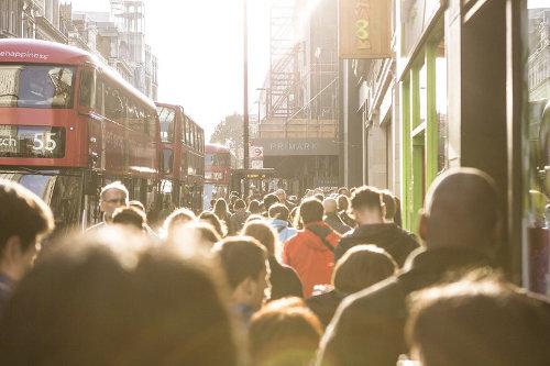 London busy high street