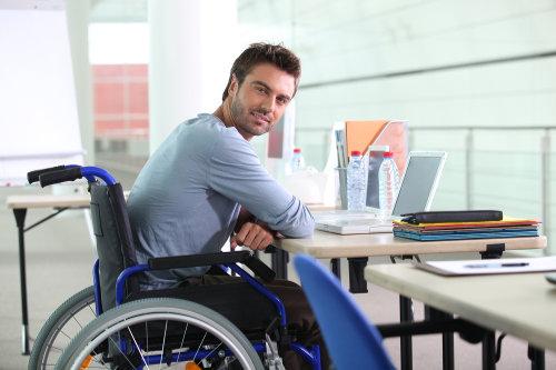 Businessman using wheelchair