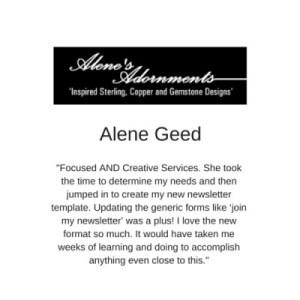 Testimonial Alene's Adornments