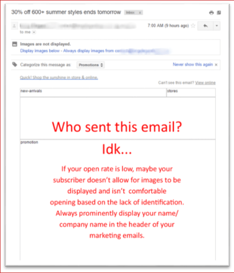 IMAGE of an email without branding or identifiers