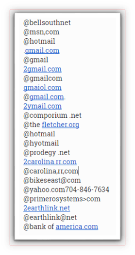 Image of list of bad email addresses
