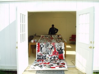 Artist Deborah Grant in the studio