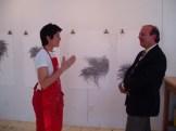 Artist Janis Goodman in studio with Torre Meringolo