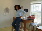 Artist Kira Lynn Harris in studio