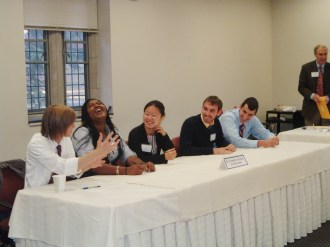 Students laughing at the Ethics Bowl