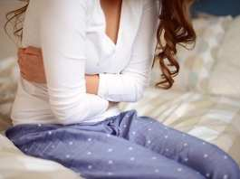woman with stomach pains