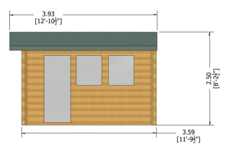 SM Garden Sheds Shire Bradenham Timber 13x12 Garage with Double Doors (Various Log Sizes)