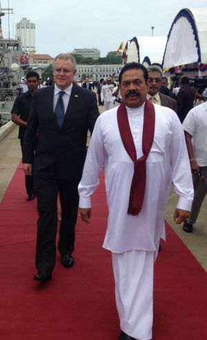 Former Immigration Minister Scott Morrison on a visit to Sri Lanka earlier this year where he met with Sri Lankan President Mahinda Rajapaksa.