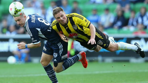 Double header as Besart Berisha of the Victory and Benjamin Sigmund of the Phoenix contend for the ball.