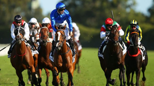James McDonald rises in the saddle as he approaches the winning post on Hartnell in The BMW on Saturday.