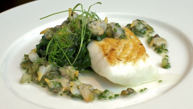 Roast turbot at Dinner by Heston Blumenthal, London.