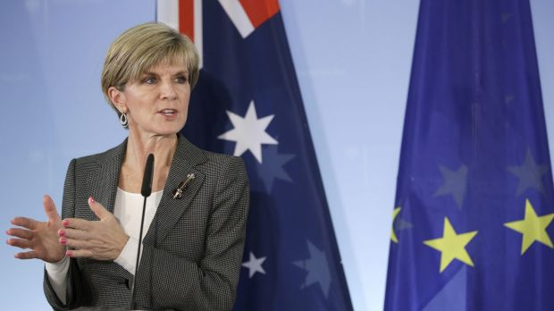 'I'm very conscious of the fact that the geographic circumstances are very different between Europe and Australia' ... Foreign Minister Julie Bishop at a press conference in Berlin, Germany.