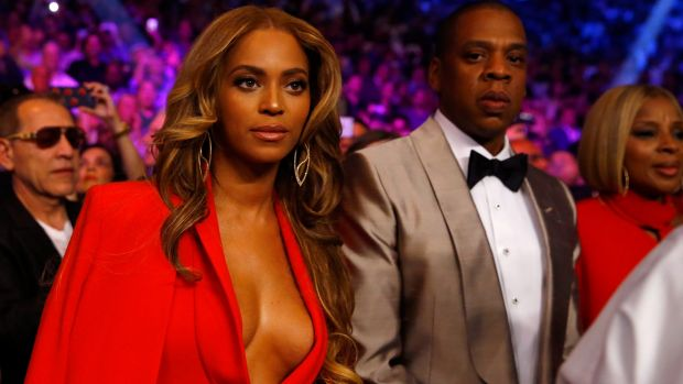 Beyonce Knowles and Jay Z attend the Floyd Mayweather-Manny Pacquiao bout at the MGM Grand, Las Vegas.