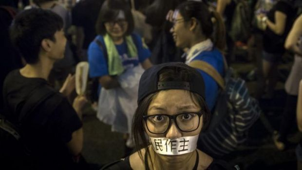 Image result for Hong Kong, girl with tape over mouth