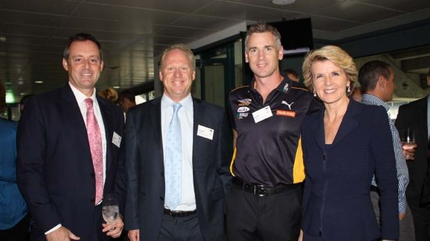 Eagles coach Adam Simpson with Foreign minister Julie Bishop.