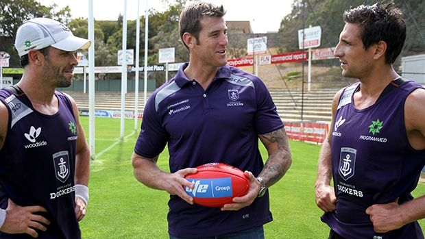 Dockers number one ticket holder Ben Roberts-Smith with Ryan Crowley and Matthew Pavlich.