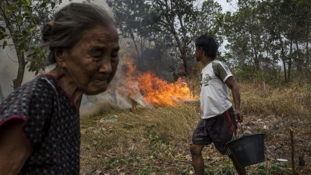 A man carries a bucket of water as he tries to extinguish a fire on burned peatland near his house in Ogan Ilir district, South Sumatra.