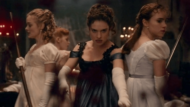 Girls of action: Jane Austen heroine Elizabeth Bennet (Lily Collins) leads her sisters against a horde of Undead gate-crashers in Pride & Prejudice & Zombies.