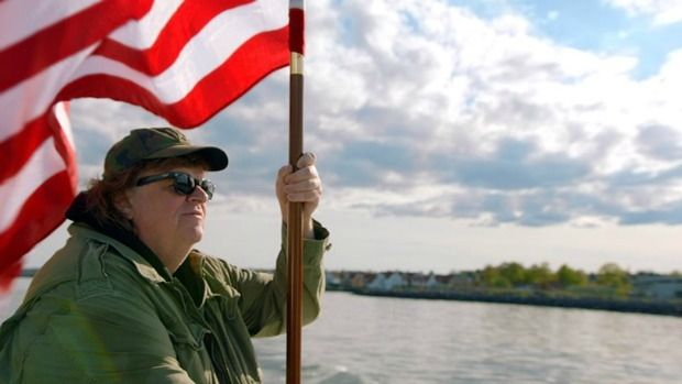 Flying the flag: Michael Moore heads to Europe in search of a better America in Where to Invade Next.