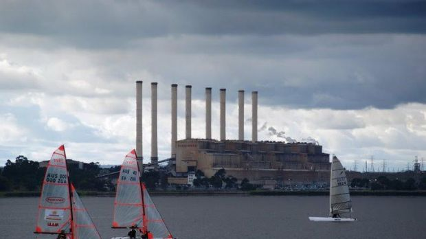 Hazelwood Power Plant seen from across the lake.
