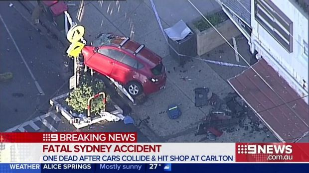 The scene of a car crash in Carlton in Sydney's south.