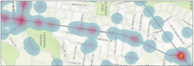 A heat map of Rosanna Road showing the location of the 75 crashes on the road in the last five years.