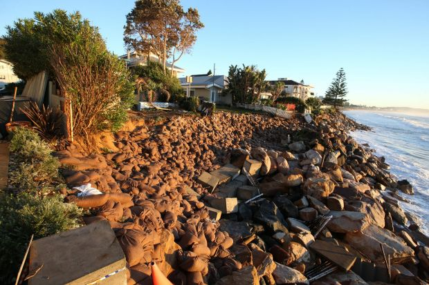 The Seneca at Collaroy Beach this morning after extensive sand bagging  overnight.