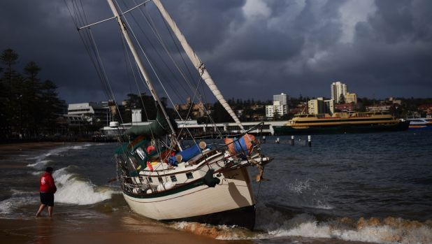 A yacht was driven ashore at Manly Cove on Thursday afternoon by strong winds.